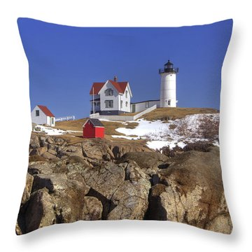 Nubble's Rocky Coastline Throw Pillow by Joann Vitali