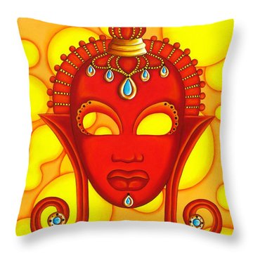 Nubian Modern Mask Red Throw Pillow by Joseph Sonday