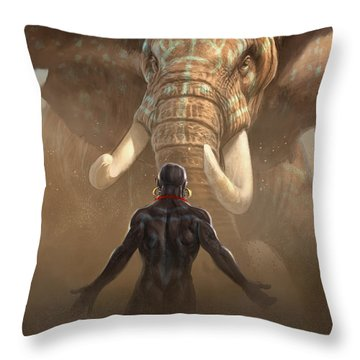Nubian Warriors Throw Pillow by Aaron Blaise