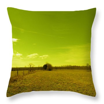 Throw Pillow featuring the photograph Nuclear Fencerow by Nick Kirby