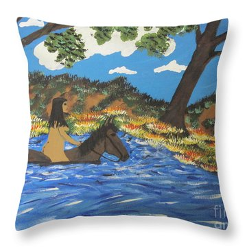 Throw Pillow featuring the painting Nude And Bareback Swim by Jeffrey Koss