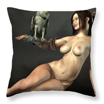 Nude Athena With Owl Throw Pillow