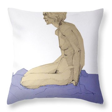 Nude Figure In Blue Throw Pillow