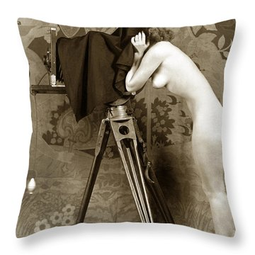 Nude In High Heel Shoes With Studio Camera Circa 1920 Throw Pillow