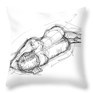 Nude Male Sketches 4 Throw Pillow