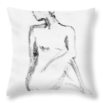 Nude Model Gesture Vi Throw Pillow