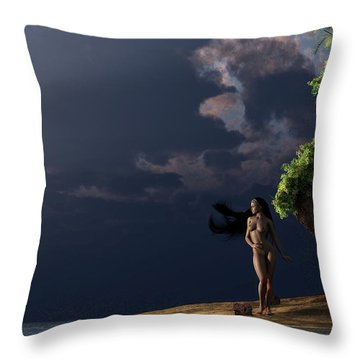 Nude On A Beach Throw Pillow by Kaylee Mason