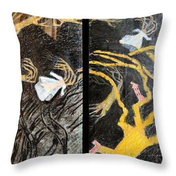 Nude Wedding Dress And Bride In Blood Shoes - Black Throw Pillow by Nancy Mauerman