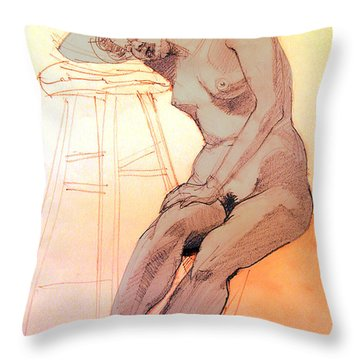 Nude Woman Leaning On A Barstool Throw Pillow