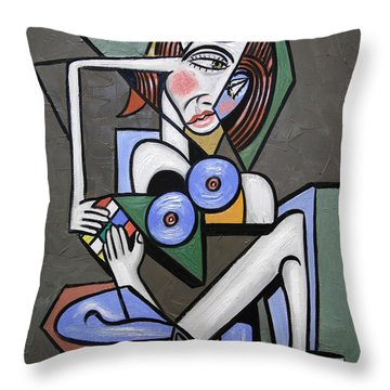 Throw Pillow featuring the painting Nude Woman With Rubiks Cube by Anthony Falbo