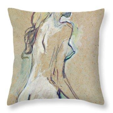 Nude Young Girl Throw Pillow