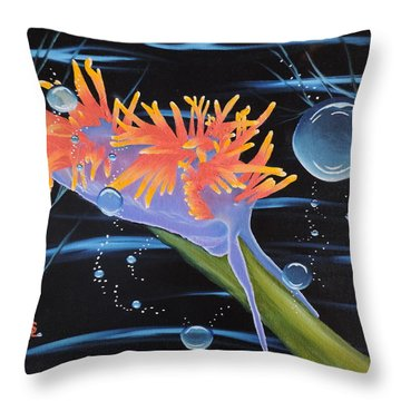 Throw Pillow featuring the painting Nudibranche by Dianna Lewis