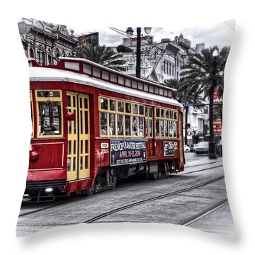 Throw Pillow featuring the photograph Number 2024 Trolley by Tammy Wetzel