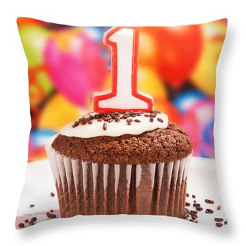 Throw Pillow featuring the photograph Chocolate Cupcake With One Burning Candle by Vizual Studio