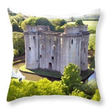 Nunney Castle Painting Throw Pillow by Ron Harpham