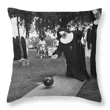 Nuns Bowling Throw Pillow