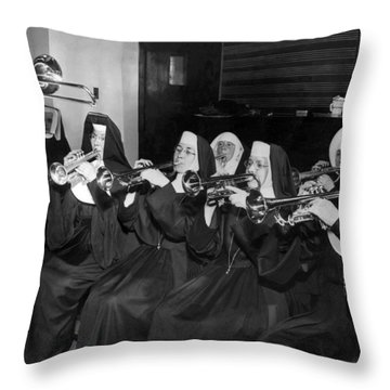 Nuns Rehearse For Concert Throw Pillow