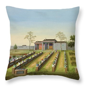 Nursery Garden, C.1820-40 Throw Pillow