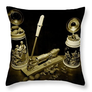 Nut Cracker With Steins Throw Pillow