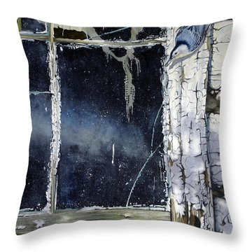 Nuthatch And Window Throw Pillow