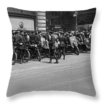 Ny Armored Motorcycle Squad  Throw Pillow by Underwood Archives
