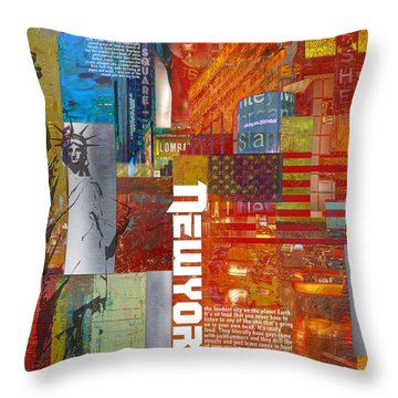 Ny City Collage 3 Throw Pillow by Corporate Art Task Force