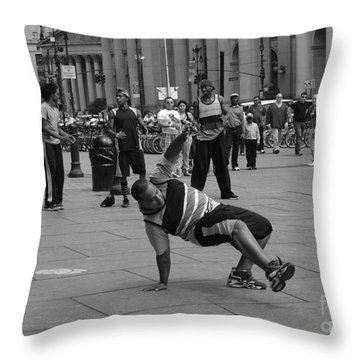 Throw Pillow featuring the photograph Ny City Street Performer by Angela DeFrias