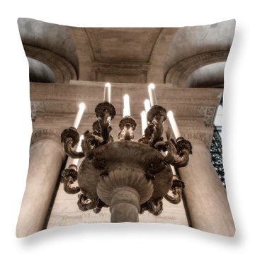 Ny Public Library Candelabra Throw Pillow