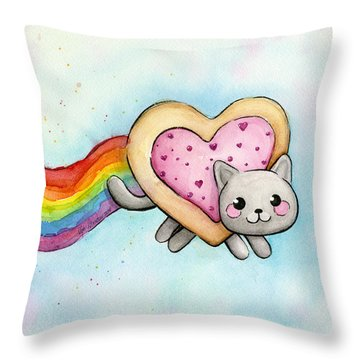 Nyan Cat Valentine Heart Throw Pillow by Olga Shvartsur