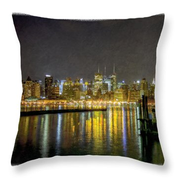 Nyc At Night Faux Oil Throw Pillow