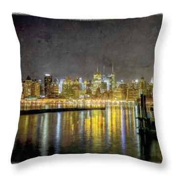 Nyc At Night Throw Pillow