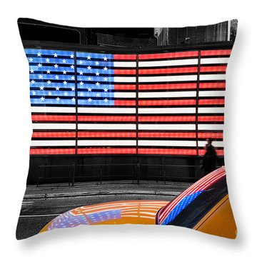 Nyc Cab Yellow Times Square Throw Pillow by John Farnan