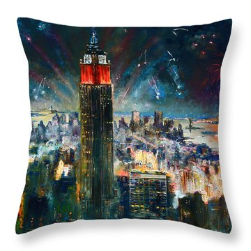 Nyc In Fourth Of July Independence Day Throw Pillow by Ylli Haruni