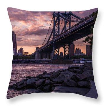 Nyc- Manhatten Bridge At Night Throw Pillow by Hannes Cmarits