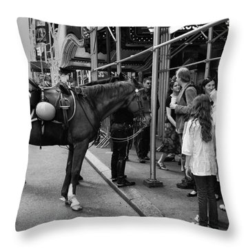 Nyc Police Horse Throw Pillow by Mark Jordan