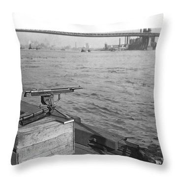 Nyc Prohibition Police Boat Throw Pillow by Underwood Archives