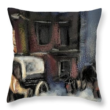 Nyc Snow 1910 Throw Pillow by Carrie Joy Byrnes