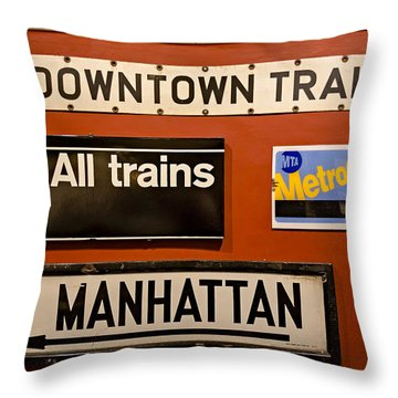 Nyc Subway Signs Throw Pillow