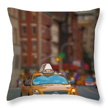 Throw Pillow featuring the digital art Taxi by Jerry Fornarotto