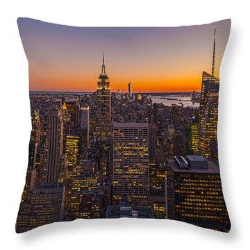 Nyc Top Of The Rock Sunset Throw Pillow