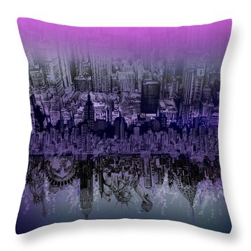 Nyc Tribute Skyline Throw Pillow by Bekim Art
