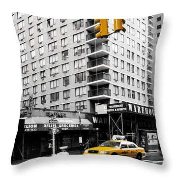 Nyc  Yellow Cab At The Crossroad Throw Pillow by Hannes Cmarits