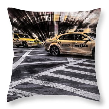 Nyc Yellow Cab On 5th Street - White Throw Pillow