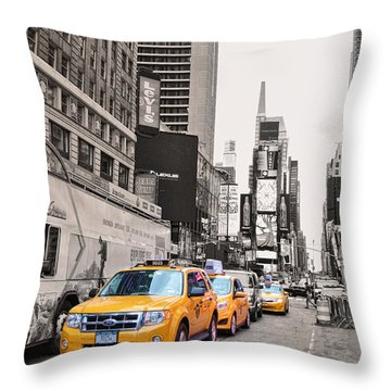 Nyc Yellow Cabs Throw Pillow