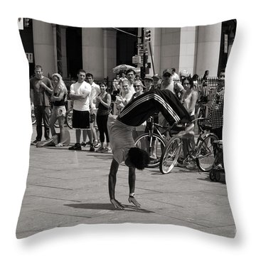 Throw Pillow featuring the photograph Nycity Street Performer by Angela DeFrias