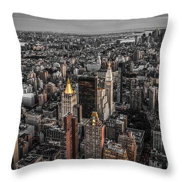 Nycs Golden Tops Throw Pillow by Hannes Cmarits