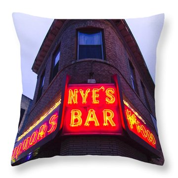 Nye's Bar By Day Throw Pillow by Heidi Hermes