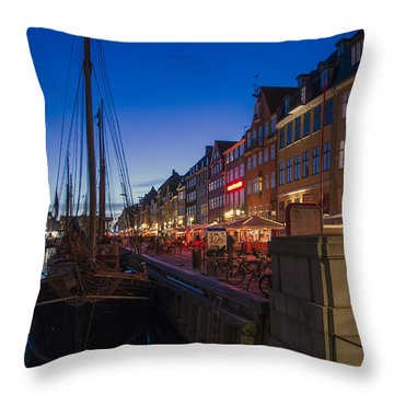 Throw Pillow featuring the photograph Nyhavn By Night Part 3 by Ross G Strachan
