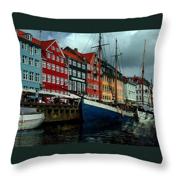 Throw Pillow featuring the photograph Nyhavn Copenhagen by Colette V Hera  Guggenheim