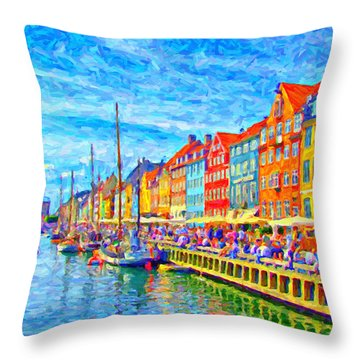 Nyhavn In Denmark Painting Throw Pillow by Antony McAulay